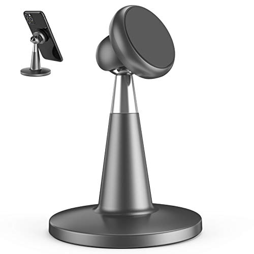 Magnet Phone Holder Desk, enGMOLPHY Desktop Magnetic Cell Phone Holder, Compatible with iPhone SE 11Pro XR 8 X 7 6 6s Plus,Android Smartphone Stand for Office Desk -Gray