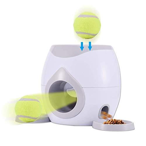 JOAN Futterautomat & Ballwurfmaschine für Hunde, 2 in 1 Hund Interaktive Fetch Spielzeug, Tennis Ball werfen Maschine für Hundetraining, 2 Bälle enthalten