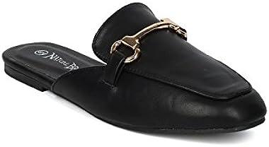 Alrisco Women Leatherette Flat Mule Slide HC40