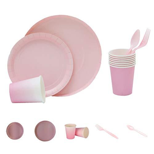 40 unids/set Platos de papel taza tenedor de plástico y cuchara vajilla conjunto para cumpleaños boda Festival (rosa)