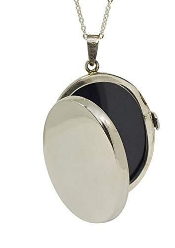 Sicuore Collar Colgante Guardapelo Oval Liso para Mujer Hombre - Plata de Ley 925 Incluye Cadena 45cm Y Estuche para Regalo