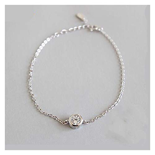 Shop-PEJ Fashion 925 Solid Real Sterling Silver Fashion Women's Jewelry Round Bracelet 15cm For Women Girl Lady Gift for Women/Mum/Wife (Color : As show)