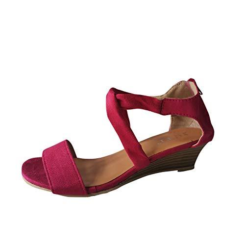 XOXSION Sandali estivi da donna con zeppa, comodi sandali da spiaggia, in tessuto aperto, con chiusura lampo, rosa., 40 EU