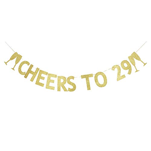 Cheers to 29 Banner, The 29th Birthday Party Decoration Gold Gliter Paper Signs
