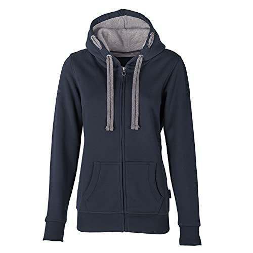 HRM Damen Hooded Jacket, navy, Gr. 5XL I Premium Kapuzenjacke Damen mit Kontrast-Innenfutter I Basic Hoodie mit Reißverschluss I Zip Hoodie I Hochwertige & nachhaltige Damen-Oberteile