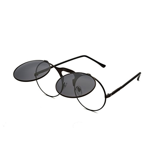 Round Sunglasses for Men Women Retro SteamPunk Style Flip Up Mirror Circle Shades Glasses Black Frame