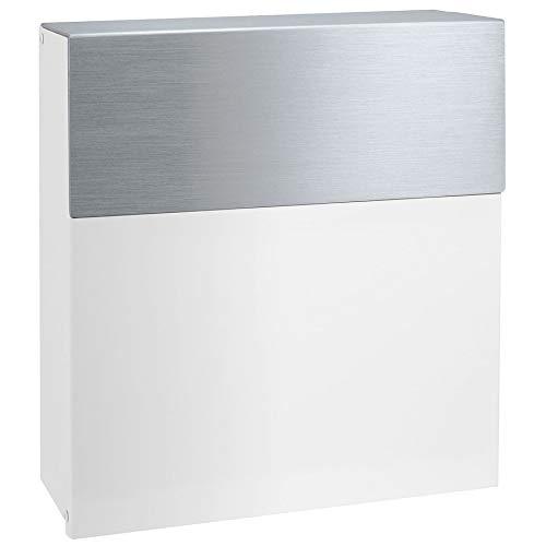 MOCAVI Box 580 moderner Design-Briefkasten weiss & Edelstahl (ral 9003) Postkasten hochwertig V4A Edelstahl hand-gebürstet wetterfest rostfrei