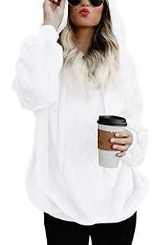 COCOLEGGINGS Women s Girls Fuzzy Casual Sweatshirt Hooded Pocket Outwear White S