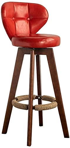 Taburetes De Mostrador Con Taburete Giratorio Ajus Bar Taburete Silla Del Comedor giratoria Taburete de barra con espalda y patas de madera PU Cuero De La PU tapizado asiento desayuno restaurante rest