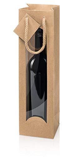 weinkarton24 10 x Weintragetasche, Weinverpackung, Flaschentasche Kraftpapier Natur (1 Flasche)