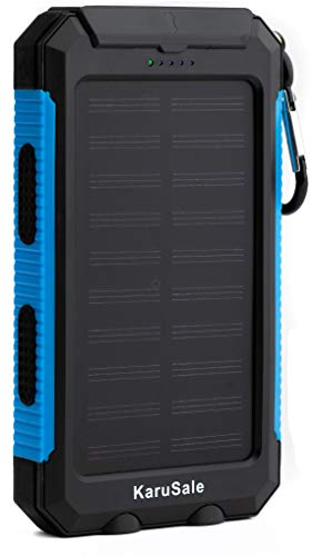 Solar Power Bank Portable Charger 50000mah Battery Pack 2 LED 2 USB Camping Solar Panels Waterproof Car Travel Outdoor External Backup Flashlight for All Cell Phones and Tablets Black & Blue