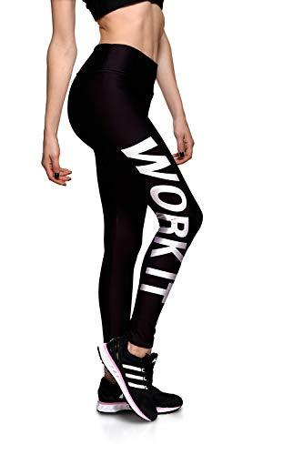 FBYYJK Women'S Leggings Sport, Wit Engels Letters afdrukken Zwarte Panty's Ademende Zachte Vocht Wicking Elastische Kracht Taille Niet-slip Sneldrogend Slank Afslanken Yoga Hardlopen Fitness