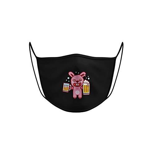 Dilara Masken mit Motiv - Lustige Masken für Gesicht aus Baumwolle (Besoffener Hase)