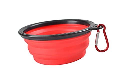Art bag Cuenco Plegable de Silicona para Perros y Mascotas, Cuenco de Plato alimentador portátil para Viajes al Aire Libre, 1000 ml, Rojo