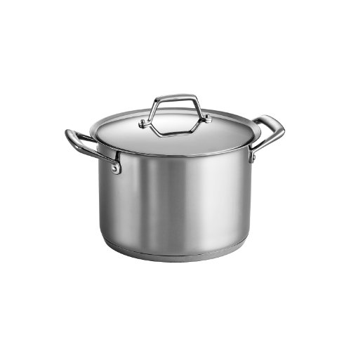 Tramontina Gourmet Prima Stainless Steel, Induction-Ready, Impact Bonded, Tri-Ply Base Covered Stock Pot, 12 Quart, Made in Brazil