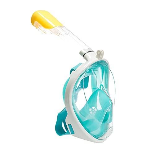 Máscara de snorkel para adultos, equipo de snorkel para niños, tubo de ventilación más largo con visión panorámica de 180 °, hermético, antivaho, tecnología antifugas