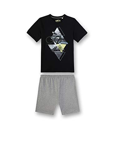 Sanetta Jungen Pyjama kurz Zweiteiliger Schlafanzug, Schwarz (schwarz 10015), (Herstellergröße:128)