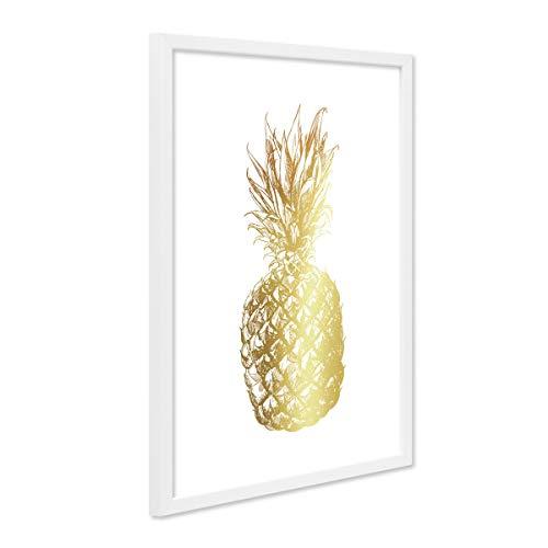 PHOTOLINI Design-Poster mit Bilderrahmen Weiss 'Goldene Ananas' 30x40 cm Goldaufdruck Motiv Modern