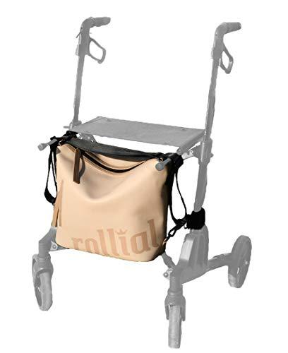 rollial, Modell Robin, Umhängetasche, Rucksack und universelle Rollator Tasche, wetterfest, einfache Handhabung, Farbe Karamell