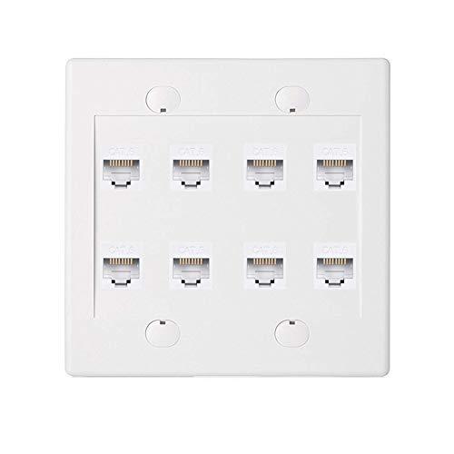 BUPLDET 8 Port Ethernet Wall Plate - Cat6 Keystone Faceplate Female to Female - White
