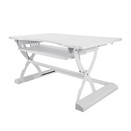 LYLY Conversor de escritorio de pie con soporte para sentarse, altura ajustable, ergonómico para escritorio (color: blanco)