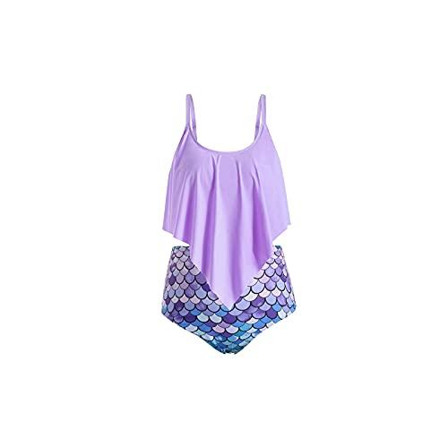 Kfhfhsdgsansyz Bañadores Mujer, Talla Grande Traje de baño Verano Sexy Alta Cintura Impresa Mujeres Bikinis Set Beach Natación Traje de baño (Color : Purple, Size : 4XL)