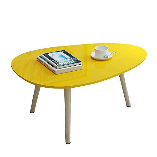 Desk Xiaolin Table Basse en Bois, Table de Centre Ovale Moderne pour Table d'appoint de Petit Espace de Salon avec Pieds en Bois (Couleur : Le Jaune)