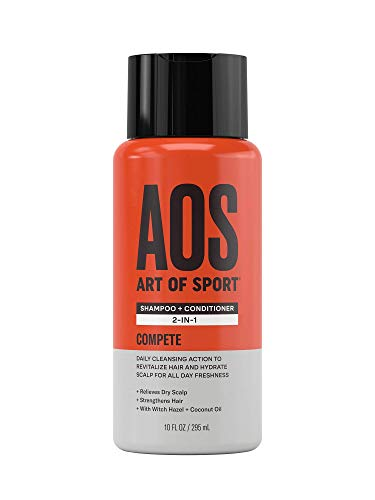 Art of Sport Sulfate Free Shampoo and Conditioner, Compete Scent, Mens Shampoo for Dry Scalp, Hair Strengthening with Hydrating Coconut Oil, For all Hair Types, 10 oz