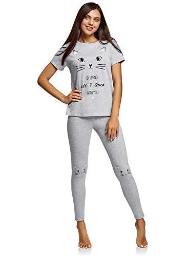 oodji Ultra Damen Schlafanzug mit Katzen-Druck, Grau, DE 42 / EU 44 / XL