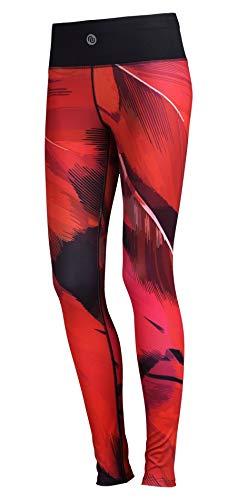 Nessi Legging de sport OSLK pour femme, pantalon de course, fitness, poches respirantes, plumes rouges 51, XS/S