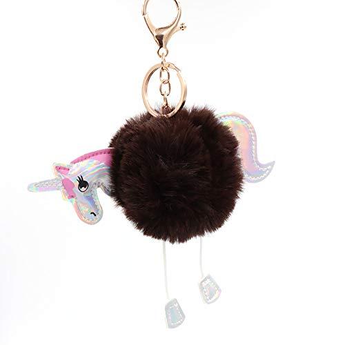 Wimagic 1 llavero colgante llavero llavero llavero bolso de mano decoración de coche regalo de cumpleaños para mujeres y niñas (marrón oscuro)