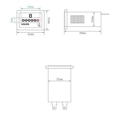 Docooler DC 6V-50V 12V Hour Meter Gauge Hourmeter Tachometer for Small Engines Car Boat Rectangular.