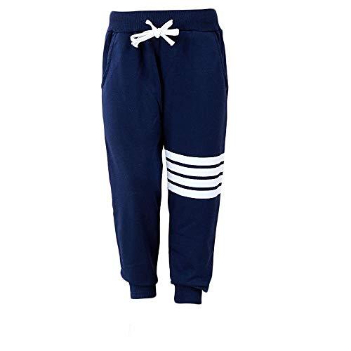 Tasty Life Pantaloni Sportivi Da Ragazzo Alla Moda, Nuovi Pantaloni Harem Per Bambini Pantaloni Casual Stampati A Quattro Strisce Con Corda Elastica.(130cm,Blue)