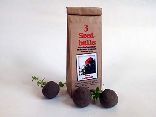 Die Seedball-Manufaktur Seedballs Mohnlandschaft 3er, Natur mit rotblühender mohnmischung