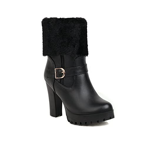 Women Winter Chunky High Heel Ankle Boots Zipper Faux Fur PU Leather Round Toe Platform Snow Booties