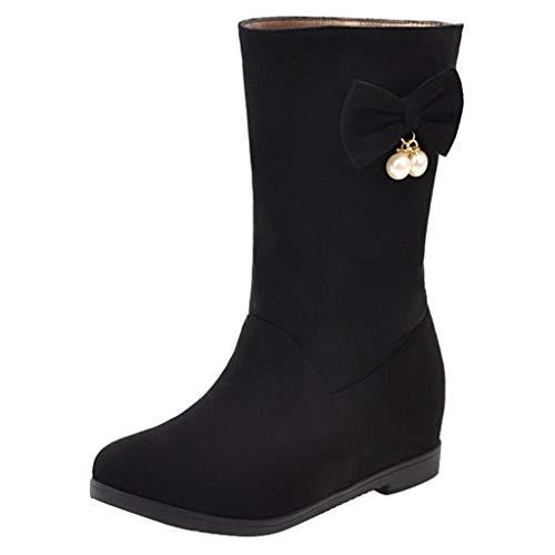Yowablo Stiefel Frauen Winter Warm Flat Mit Warmen Hohen Stiefeln Große Studentenschuhstiefel (42,Schwarz)