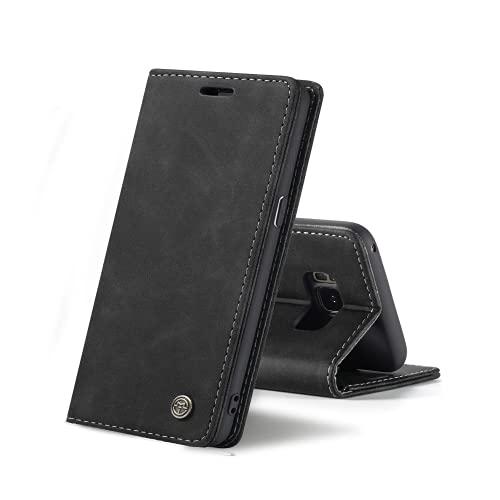 Chocoyi Compatible Funda Samsung Galaxy S8 Flip Leather Edition,magnético, función de Soporte y Ranuras para Tarjetas-Negro