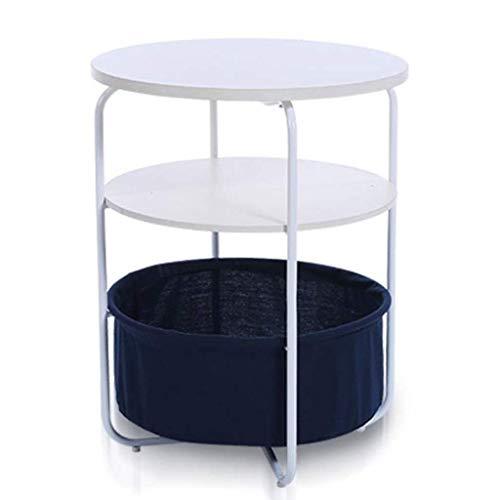 LY88 Runder Beistelltisch mit Aufbewahrungskorb, moderner rustikaler Nachttisch für Schlafzimmer-Nachttisch