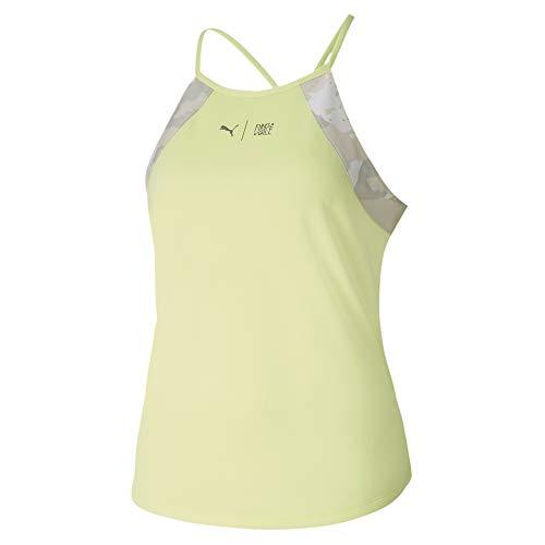 PUMA The First Mile Tank Camiseta De Tirantes, Mujer, Sunny Lime-Camo PRT, M