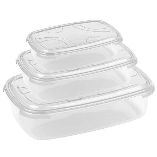 3-teilige rechteckige Frischhaltedose mit Deckel Vorratsdosen Behälter Aufbewahrungsbox Transparent