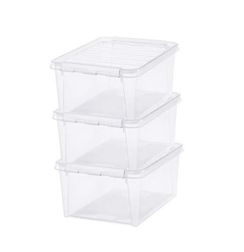 SmartStore - Classic 15 - Juego de 3 cajas de almacenamiento - Papel de oficina A4 tamaño - Transparente - 40 x 30 x 18 cm - Clips blancos 14l 8008010