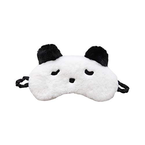 H HOMEWINS Schlafmaske 3D Süße Atmungsaktive Augenmaske aus 100% Naturseide & Plüsch Verstellbares Gummiband Schlafbrille Nachtmaske für Schlafen Reisen Party (Panda)