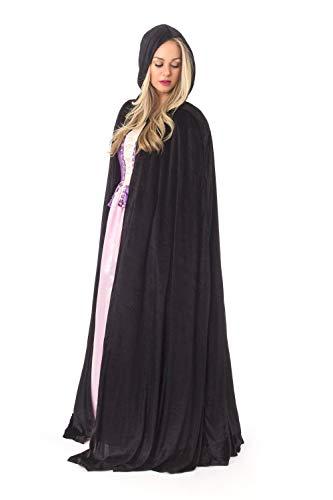 Little Adventures Adult Full Length Deluxe Velvet Cloak Cape with Lined Hood (Black)
