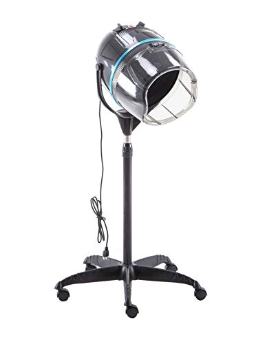 BarberPub 1300W Professional Adjustable Hooded Floor Hair Bonnet Dryer Stand Up Rolling Base with Wheels Salon Spa Beauty Equipment VHD08 (Black)