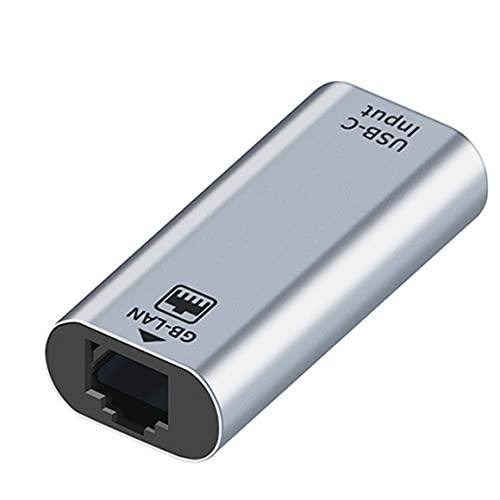 KoelrMsd Adaptador USB C USB Tipo C Hembra a RJ45 10/100 / 1000Mbps Adaptador de Red Tarjeta de Red Tipo-c Enchufe Hembra