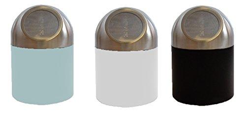 Riyashop 3 Farben Mülleimer Metall Tischmülleimer Tisch Eimer Abfalleimer mit Deckel (Weuß)