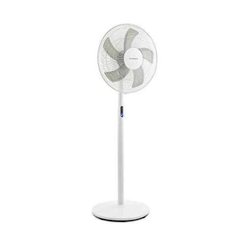 Klarstein Flex Stream Fan Standing Fan - Pedestal Fan, 3-Way Height Adjustable, 8 Speed Levels, Switchable Oscillation, 8-Hour Timer, WhisperFlow, Robust Base, Quiet, Remote Control, White