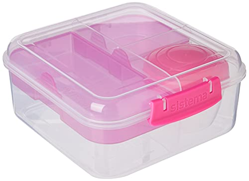 Sistema Bento Box TO GO | Lunch Box with Yoghurt/Fruit Pot | 1.25 L | Pink | 1 Count