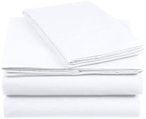 Amazon Basics AB 200TC Cotton - Light, 100% Algodón, Blanco, 135 x 200 cm & 1 Funda 50 x 80 cm