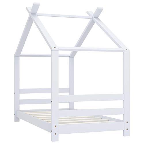 Tidyard Kinder-Bettgestell Bett Holz Haus Schlafen Hausbett Spielbett für Kinder Schönes Kinderbett Weiß Massivholz...